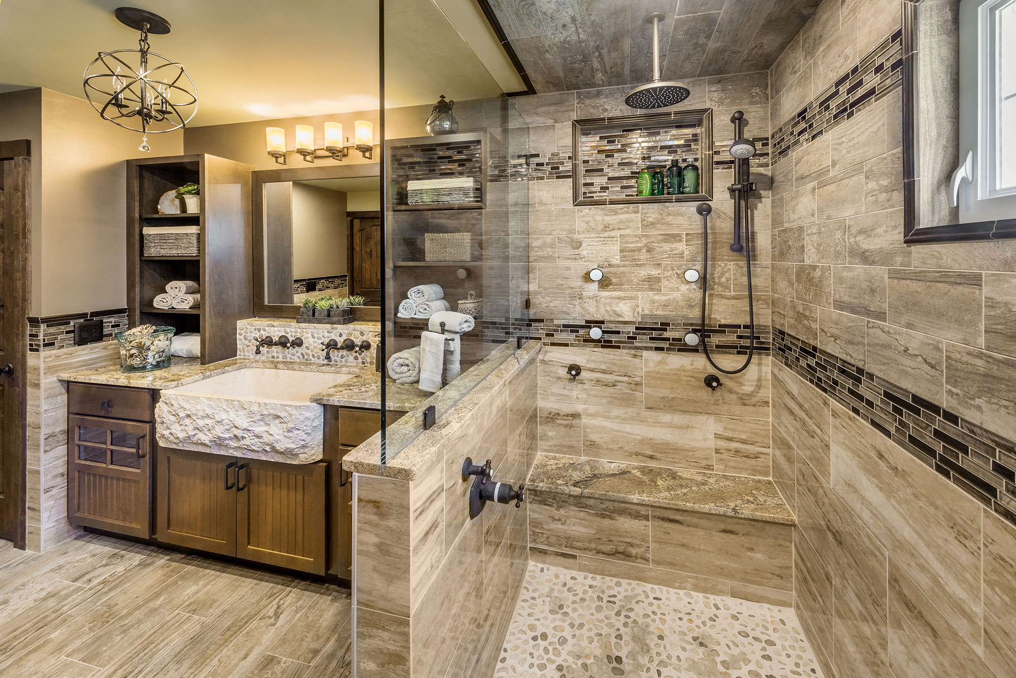 Custom design bathroom remodel by Exodus Construction - luxury coastal homes builder South County RI