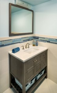 Bathroom Remodel - Compact redwood vanity - Exodus Construction - luxury coastal homes builder South County RI