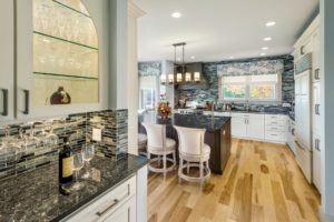 Home Remodel - Glass cabinet - Exodus Construction - luxury coastal homes builder South County RI