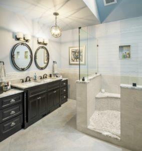 Bathroom Remodel - finishings - dual mirror - Exodus Construction - luxury coastal homes builder South County RI