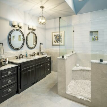 Bathroom Remodel - finishings - dual mirror - Exodus Construction - luxury coastal homes builder South County RI
