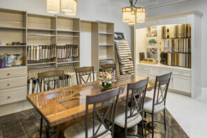 Fabric Library - high-end fabrics and a workroom to create custom window treatments and bedding, pillows plus upholstery. Quartz, granite and other solid surface countertops and custom fabrication and installation from our Southern RI design showroom.